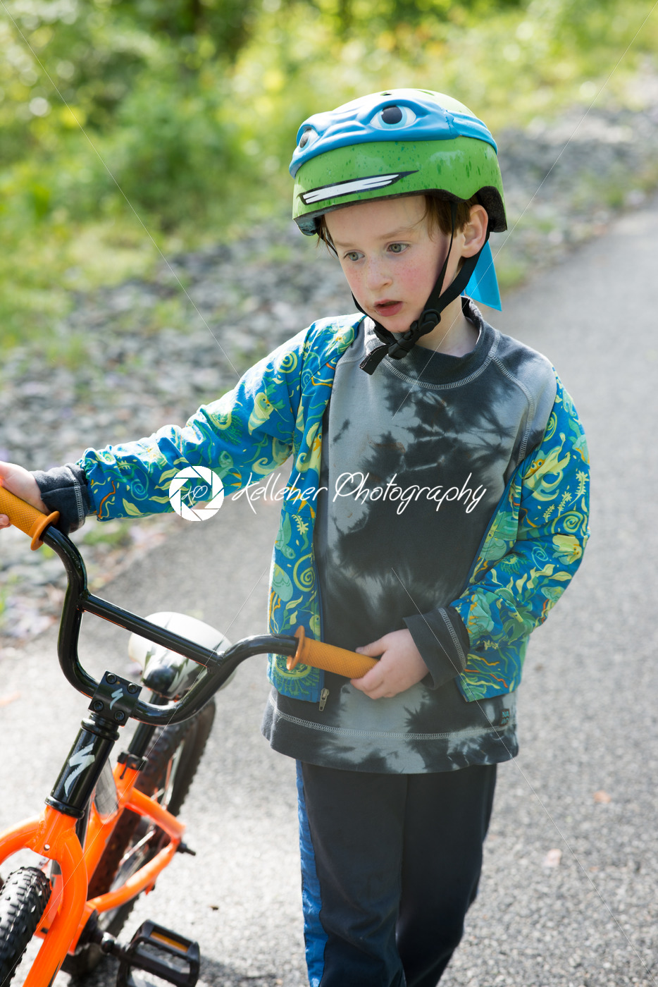 Young Boy Riding Bike on paved trail - Kelleher Photography Store