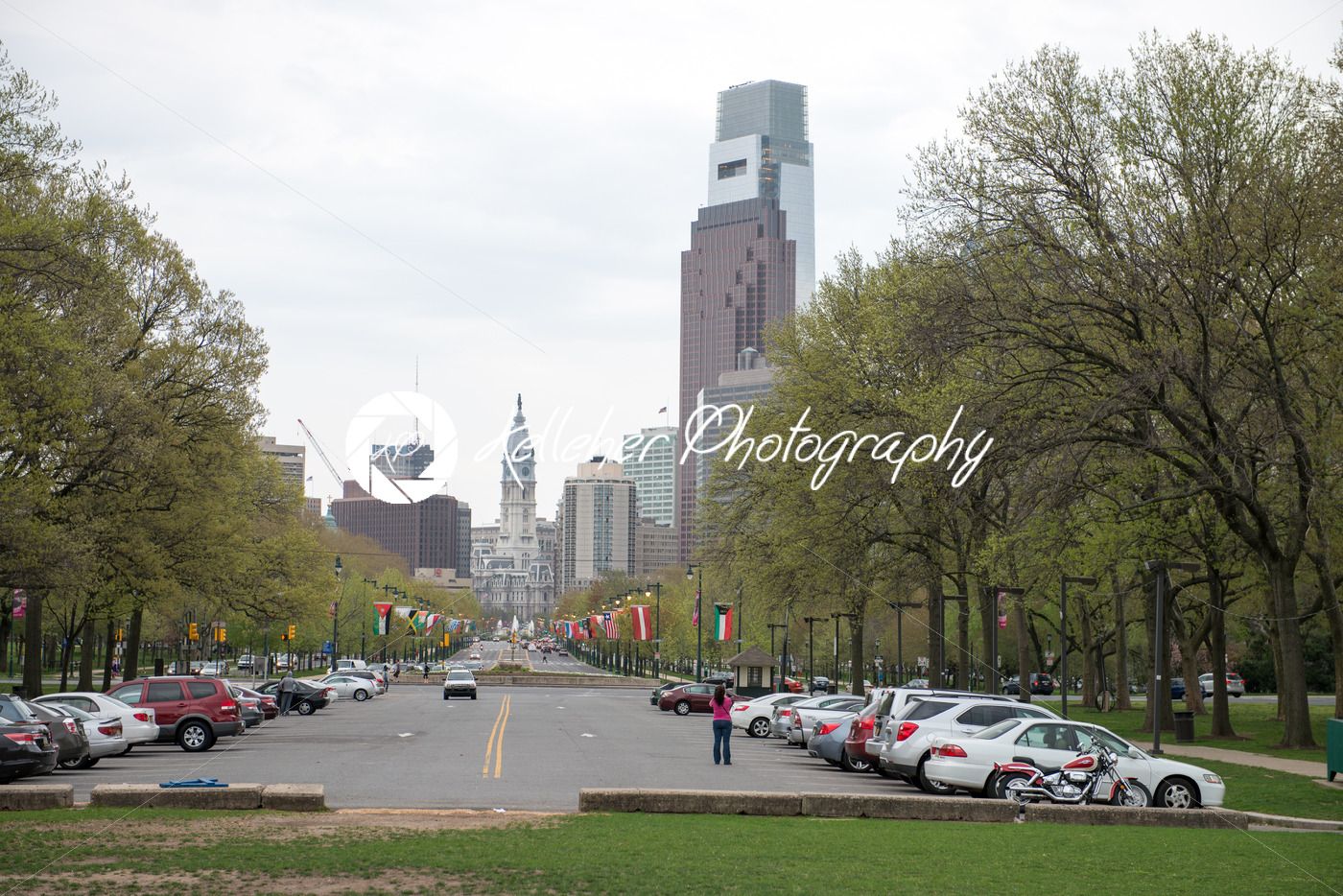 PHILADELPHIA, PA – APRIL 19: Benjamin Franklin Parkway from the Philadelphia Museum of Art with Center City skyscraper buildings in the background on April 19, 2013 - Kelleher Photography Store