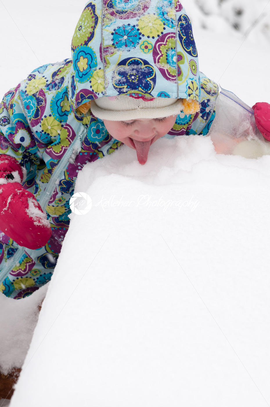 Happy toddler girl in warm coat and knitted hat tossing up snow and having a fun in the winter outside, outdoor portrait - Kelleher Photography Store