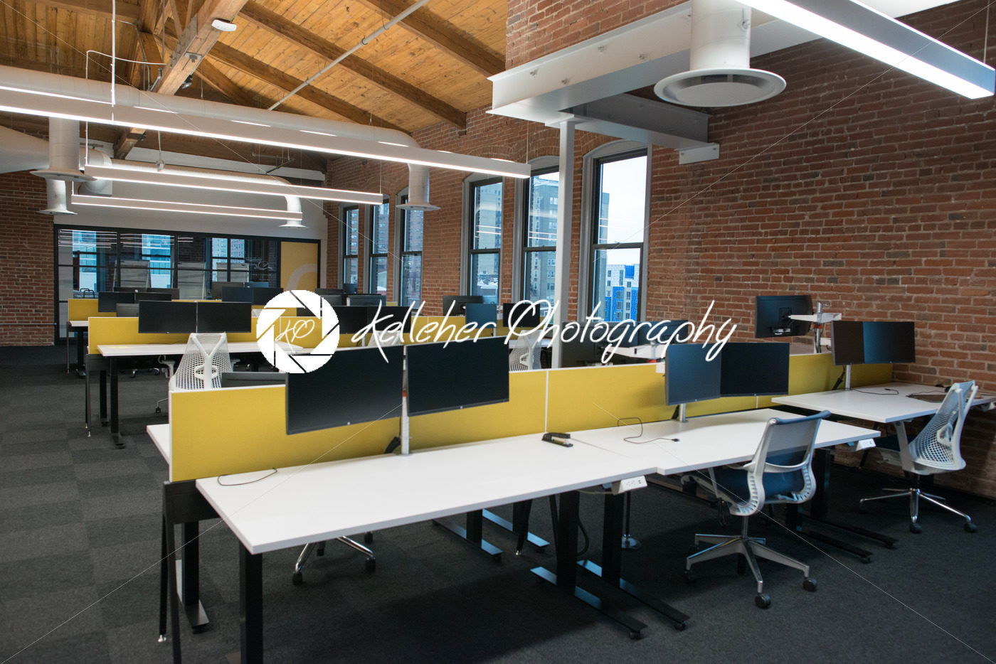 loft office. Trendy Modern Open Concept Loft Office Space With Big Windows, Natural Light And A Layout To Encourage Collaboration, Creativity Innovation E