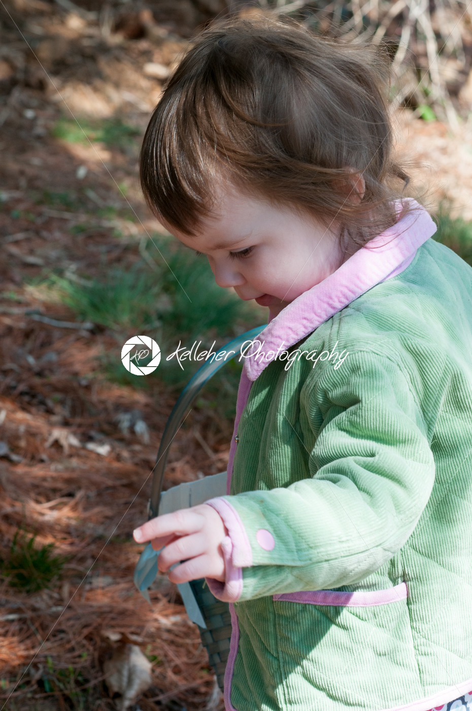 Young little toddler girl with basket searching for easter eggs - Kelleher Photography Store