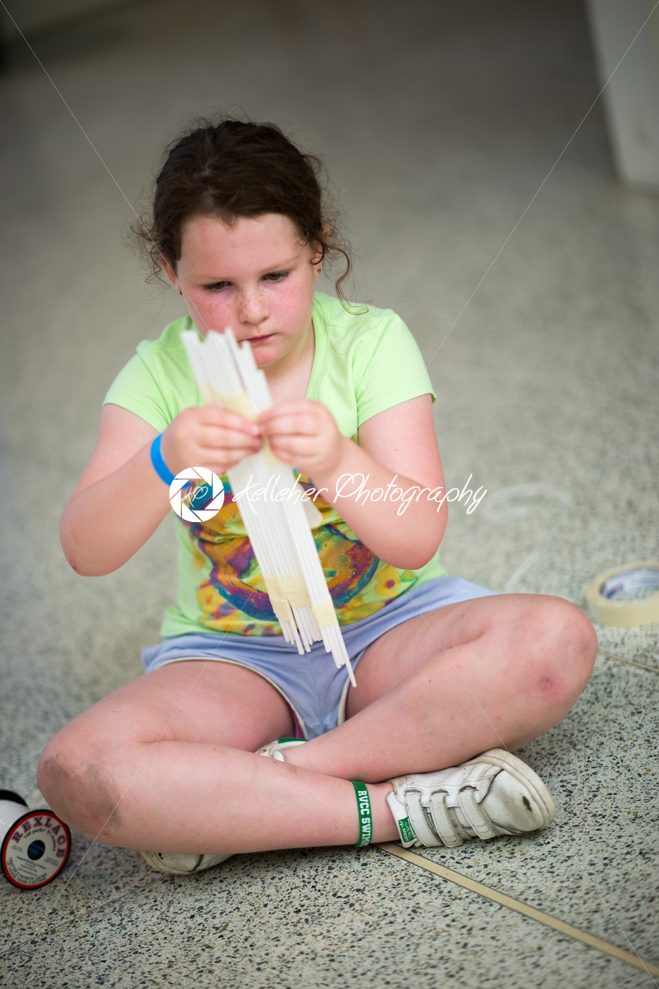 Creative young girl playing with straws - Kelleher Photography Store