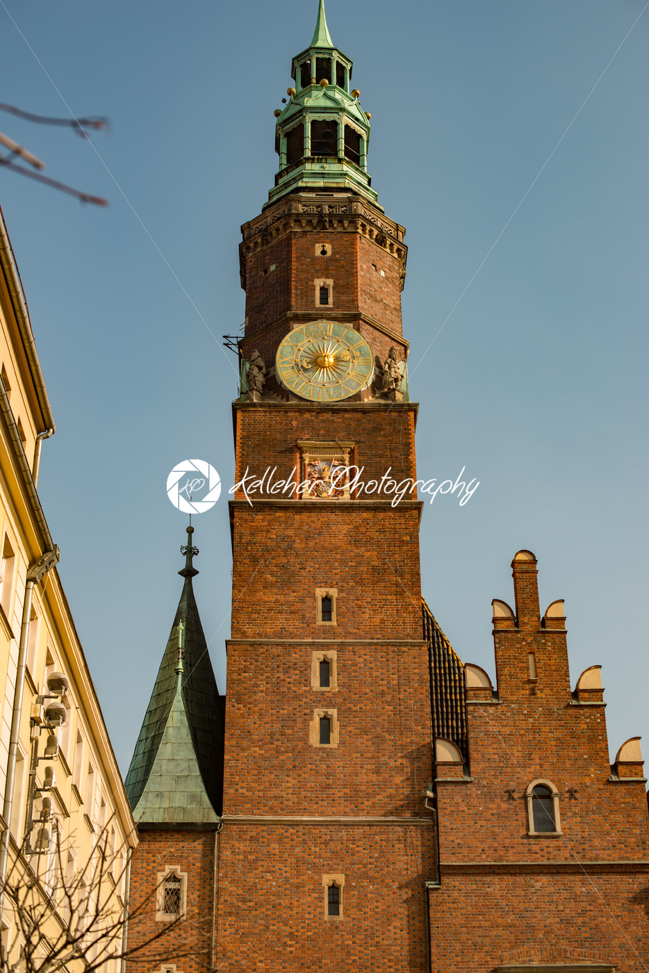 Wroclaw, Poland – March 4, 2018: Wroclaw Town Hall clock tower in evening in historic capital of Silesia, Poland, Europe. - Kelleher Photography Store