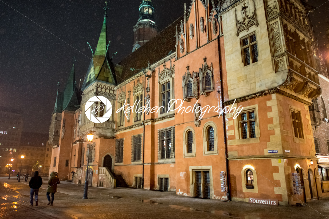 Wroclaw, Poland – March 6, 2018: Wroclaw Town Hall at night in historic capital of Silesia, Poland, Europe. - Kelleher Photography Store