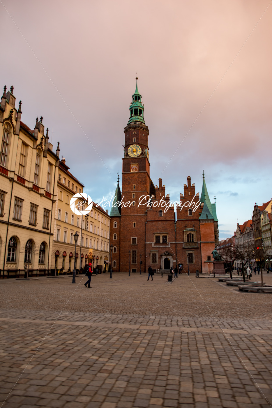 Wroclaw, Poland – March 8, 2018: Wroclaw Town Hall clock tower in evening in historic capital of Silesia, Poland, Europe. - Kelleher Photography Store