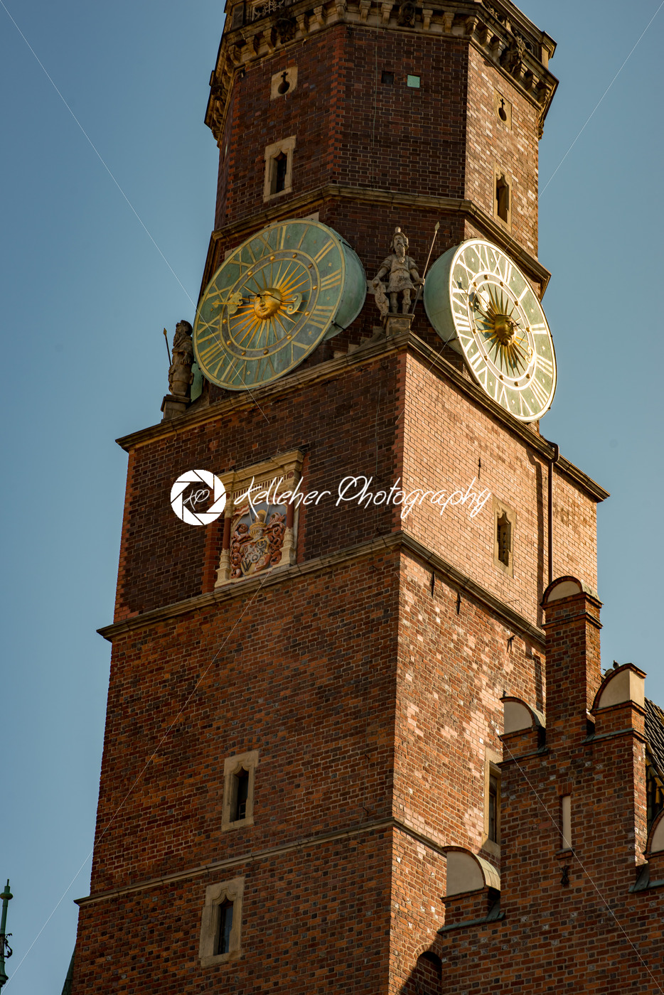 Wroclaw, Poland – March 9, 2018: Wroclaw Town Hall clock tower in morning in historic capital of Silesia, Poland, Europe. - Kelleher Photography Store