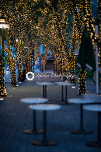 Outdoor restaurant at sunset with trees illuminated with holiday lights - Kelleher Photography Store