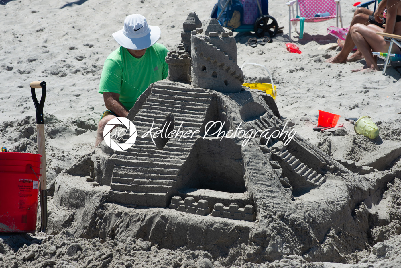 Ocean City, NJ – June 8, 2018: A lavish and large sand castle being built on the beach - Kelleher Photography Store