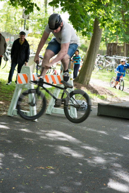 RADNOR TOWNSHIP, PA - MAY 7: BMX Stunt Performance by Chris Aceto at the Radnor Township Bike Rodeo on May 7, 2017 Stock Photo