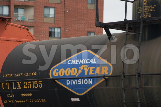 BALITMORE, MD - APRIL 15: Tank Car, steel, UTLX No.25155, GDYR No.1, Union Tank Car Company on April 15, 2017 Stock Photo