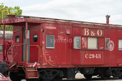 BALITMORE, MD - APRIL 15: B O Number C-2943 Caboose Baltimore Ohio Railroad on April 15, 2017 Stock Photo
