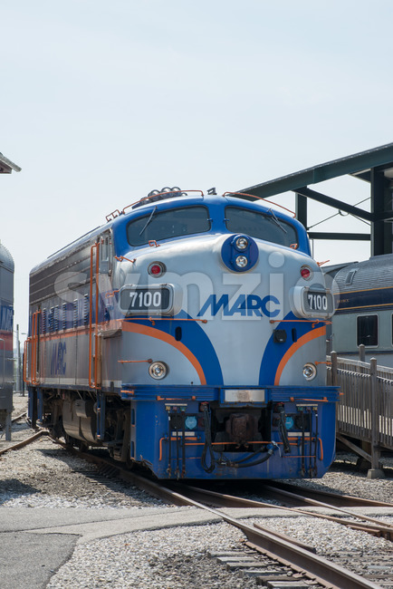 BALITMORE, MD - APRIL 15: MARC F7-A General Motors EMD Locomotive on April 15, 2017 Stock Photo