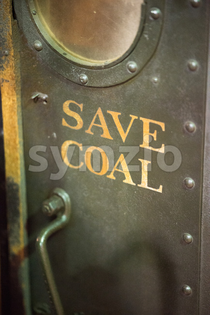 BALITMORE, MD - APRIL 15: Save Coal on old steam powered locomotive engine on April 15, 2017 Stock Photo