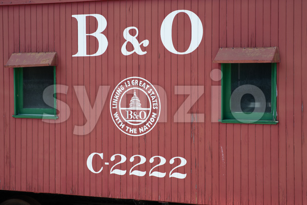BALITMORE, MD - APRIL 15: B O No.C-2222 Caboose Baltimore Ohio Railroad on April 15, 2017 Stock Photo
