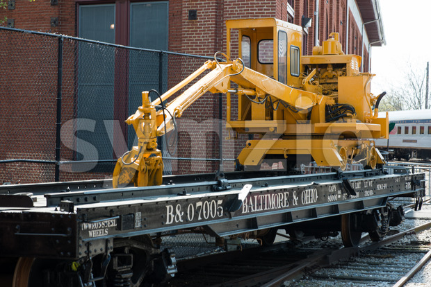 BALITMORE, MD - APRIL 15: B O No.7005 Baltimore Ohio Railroad Flat car on April 15, 2017 Stock Photo