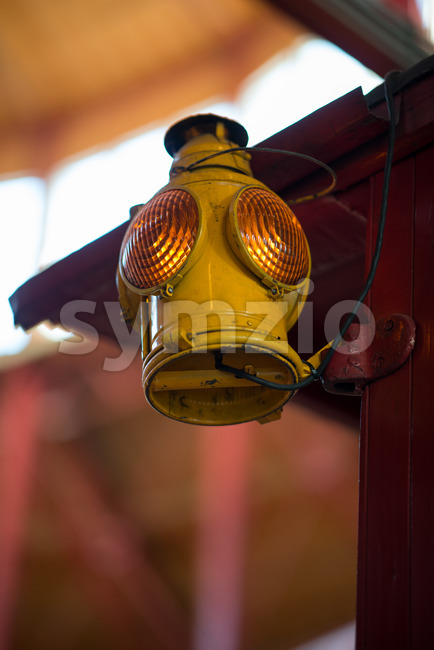 BALITMORE, MD - APRIL 15: Old Fashion Signal Lamp hanging off of Caboose on April 15, 2017 Stock Photo