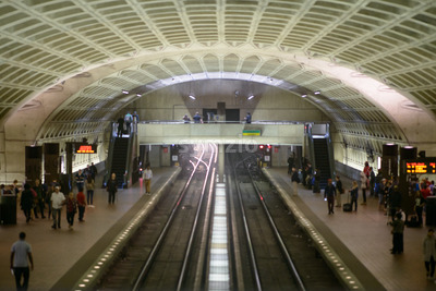 WASHINGTON, DISTRICT OF COLUMBIA - APRIL 14: Washington DC Metro Subway Train Station on April 14, 2017 Stock Photo