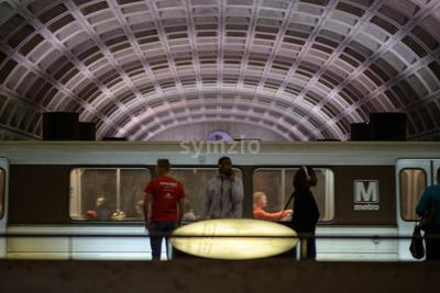WASHINGTON, DISTRICT OF COLUMBIA - APRIL 14: Washington DC Metro Subway Train Station on April 14, 2017 Stock Photo