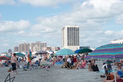ATLANTIC CITY, NJ - AUGUST 17: Atlantic City Beach during the Annual Atlantic City Air Show on August 17, 2016 Stock Photo