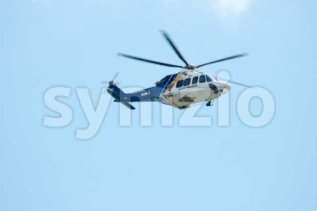 ATLANTIC CITY, NJ - AUGUST 17: NJ State Police Trooper Helicopter at Annual Atlantic City Air Show on August 17, 2016 Stock Photo
