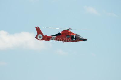 ATLANTIC CITY, NJ - AUGUST 17: US Coast Guard Helicopter at Annual Atlantic City Air Show on August 17, 2016 Stock Photo