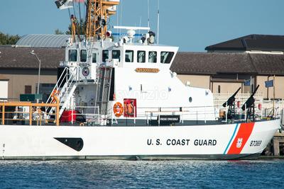 The U.S. Coast Guard Cutter Crocodile, located in Cape May Point, NJ Stock Photo