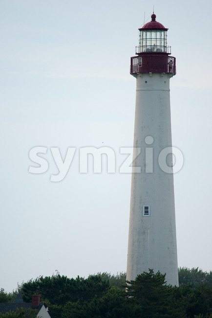 The Cape May Lighthouse, located in New Jersey at the tip of Cape May Stock Photo