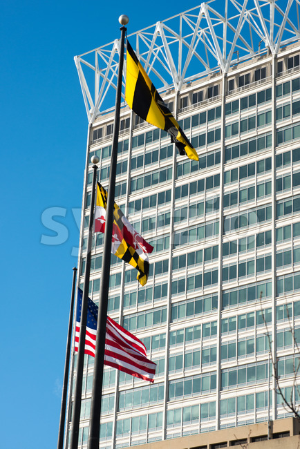 BALTIMORE, MARYLAND - FEBRUARY 18: The Inner Harbor in Baltimore, Maryland, USA on February 18, 2017 Stock Photo