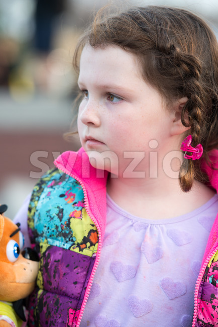 Young girl looking off into the distance Stock Photo