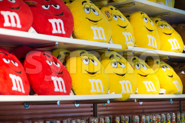 Manhattan, New York City, NY - June 18: View of Red and Yellow MM pillows in the MM Store located ...