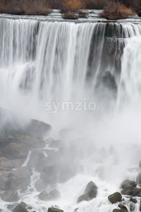 American Falls in Early Evening - View from Niagara Falls, Ontario Canada Stock Photo