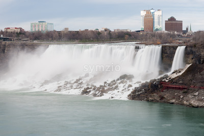 American Falls in Early Evening - View from Niagara Falls, Ontario Canada Stock Photo