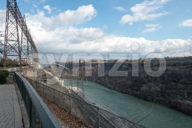 View of the Sir Adam Beck Hydroelectric Generating Stations seen from Ontario Canada. Stock Photo