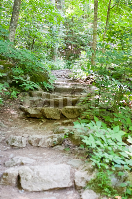 View of Rocky pathway steps at Crabtree Falls along the Blue Ridge Parkway near Asheville North Carolina