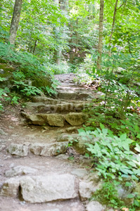 Rocky pathway steps at Crabtree Falls along the Blue Ridge Parkway near Asheville North Carolina Stock Photo