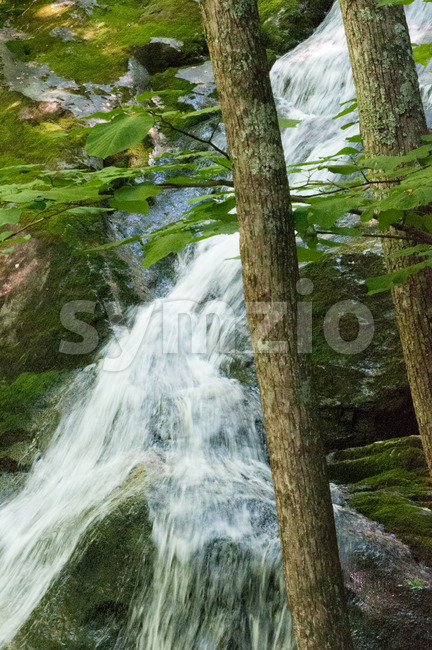 Crabtree Falls along the Blue Ridge Parkway near Asheville North Carolina Stock Photo