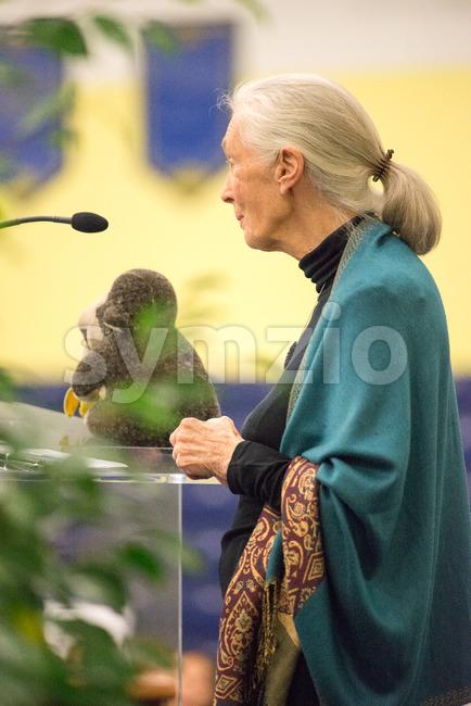 Rosemont, PA - September 15: Dr. Jane Goodall speaks at The Agnes Irwin School in Rosemont on September 15, 2015 Stock Photo