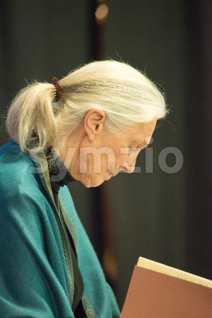 Rosemont, PA - September 15: Dr. Jane Goodall speaks at The Agnes Irwin School in Rosemont, PA on September 15, ...