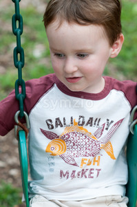 Young boy having fun on a swing Stock Photo