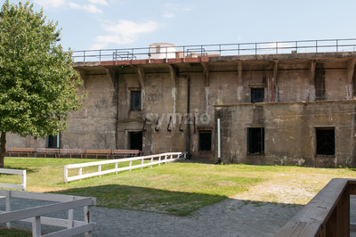 FORT DELAWARE, DELAWARE CITY, DE - AUGUST 1: Fort Delaware State Park, Historic Union Civil War Fortress that housed Confederate Prisoners on August Stock Photo