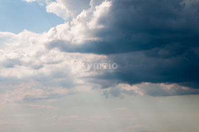 Dark storm clouds sky. Copy space below Stock Photo