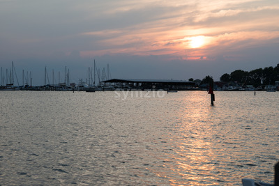 Eastern Shore Maryland Sunset over Chesapeake Bay Stock Photo