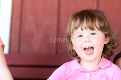 Close up Portrait of young girl at sunset Stock Photo