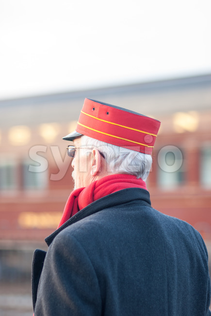 STRASBURG, PA - DECEMBER 15: Conductor standing watching Steam Locomotive in Strasburg, Pennsylvania on December 15, 2012 Stock Photo