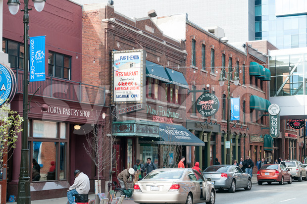 DETROIT, MI - MAY 6: Greektown section of downtown Detroit on May 6, 2014 Stock Photo