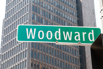 Street sign for Woodward Avenue, a main thoroughfare in the City of Detroit, Michigan. Stock Photo
