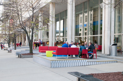 DETROIT, MI - MAY 8: People enjoying the revitalized Campus Martius park in Detroit, MI on May 8, 2014 Stock Photo