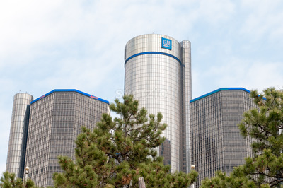 DETROIT, MI - MAY 8: General Motors World Headquarters where the majority of GM operations are based in downtown Detroit on May 8, 2014 Stock Photo