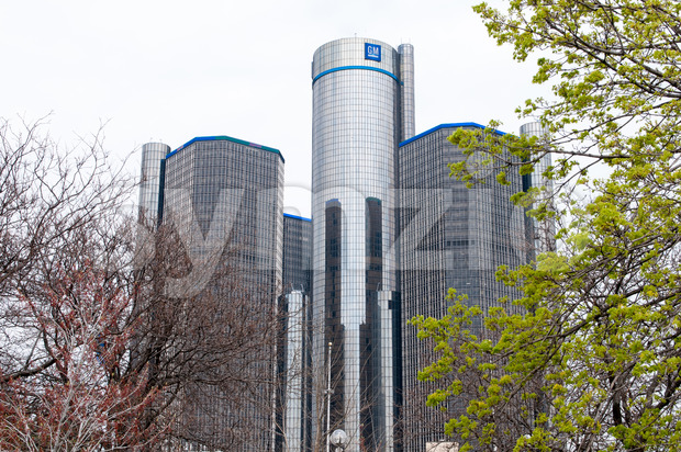 DETROIT, MI - MAY 8: View of General Motors World Headquarters where the majority of GM operations are based in ...