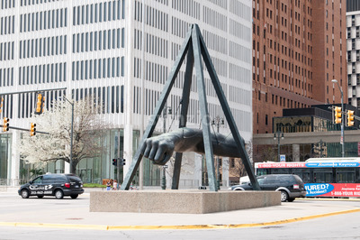 DETROIT, MI - MAY 8: The Fist, a monument to Joe Louis in Detroit, MI, shown here on May 8, 2014, is the work of sculptor Robert Graham. Stock Photo